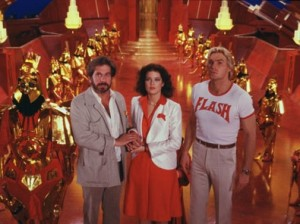 In Flash Gordon, space is so very shiny.