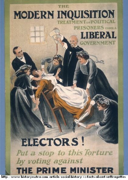 A poster dramatizing a woman being force fed.